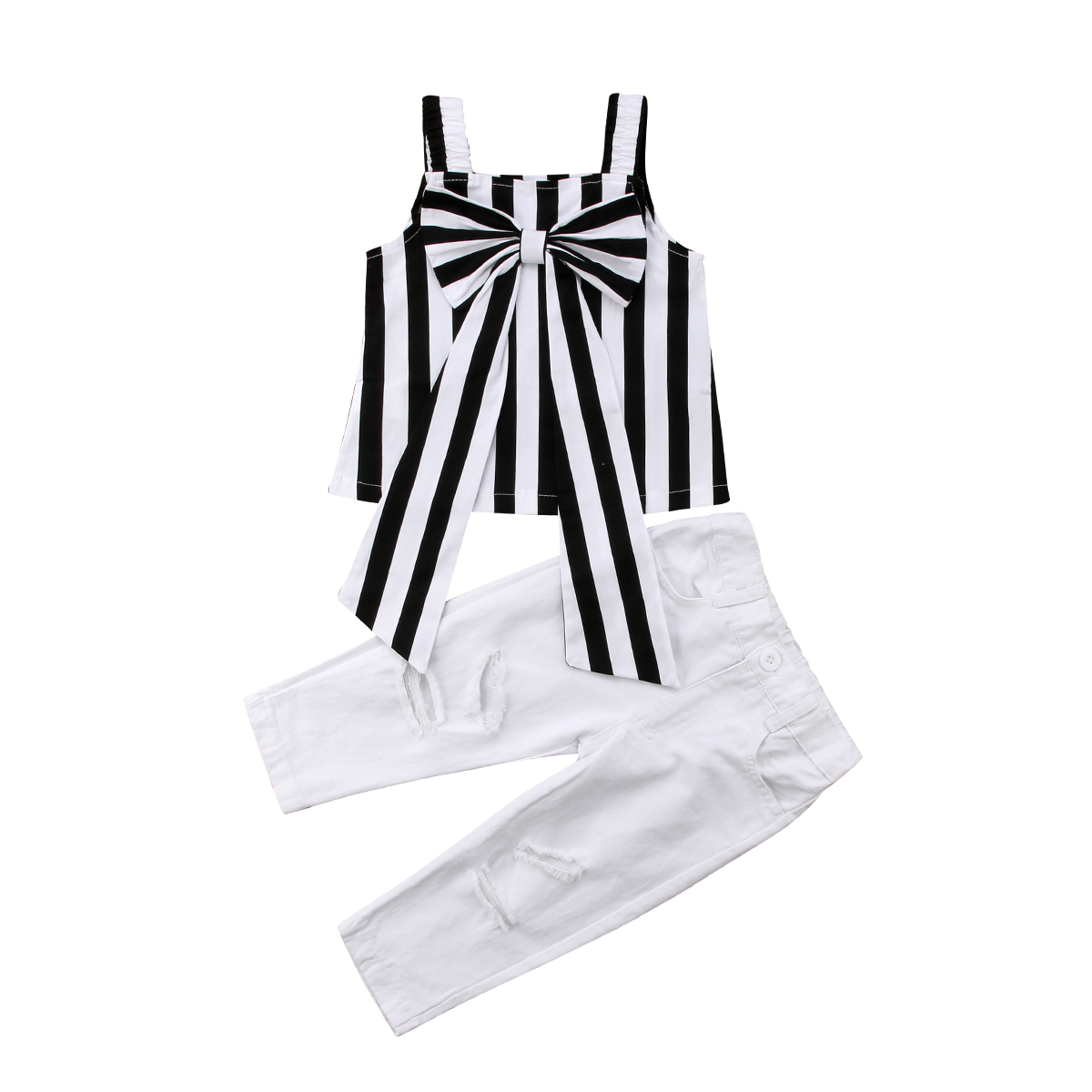 Girl Suits Summer Toddler Kids Baby Girl Striped Bow  Sleeveless Tops+White Long Pants Outfits Clothes 2PCS
