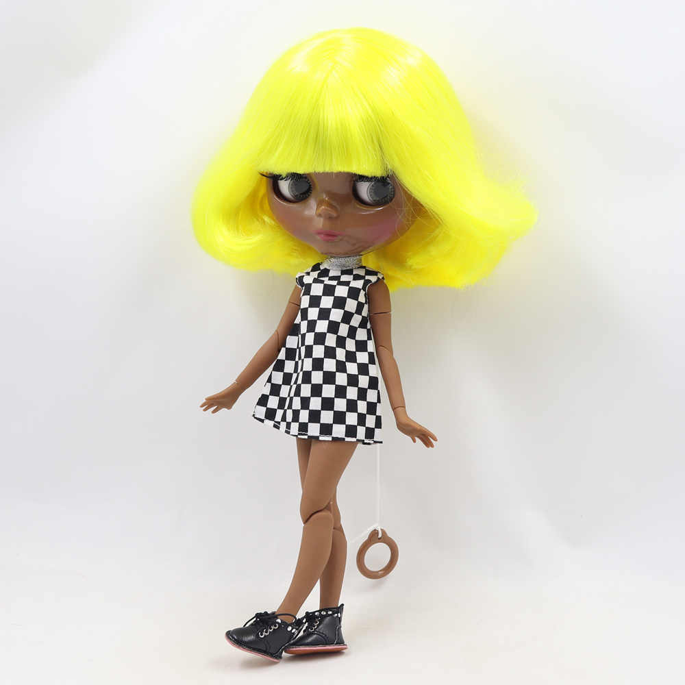 Blyth Telanjang Doll Super Hitam Gelap Warna Kulit 30 Cm Kuning Short Curly Rambut Sendi Tubuh Es SD Tinggi kualitas Hadiah Mainan