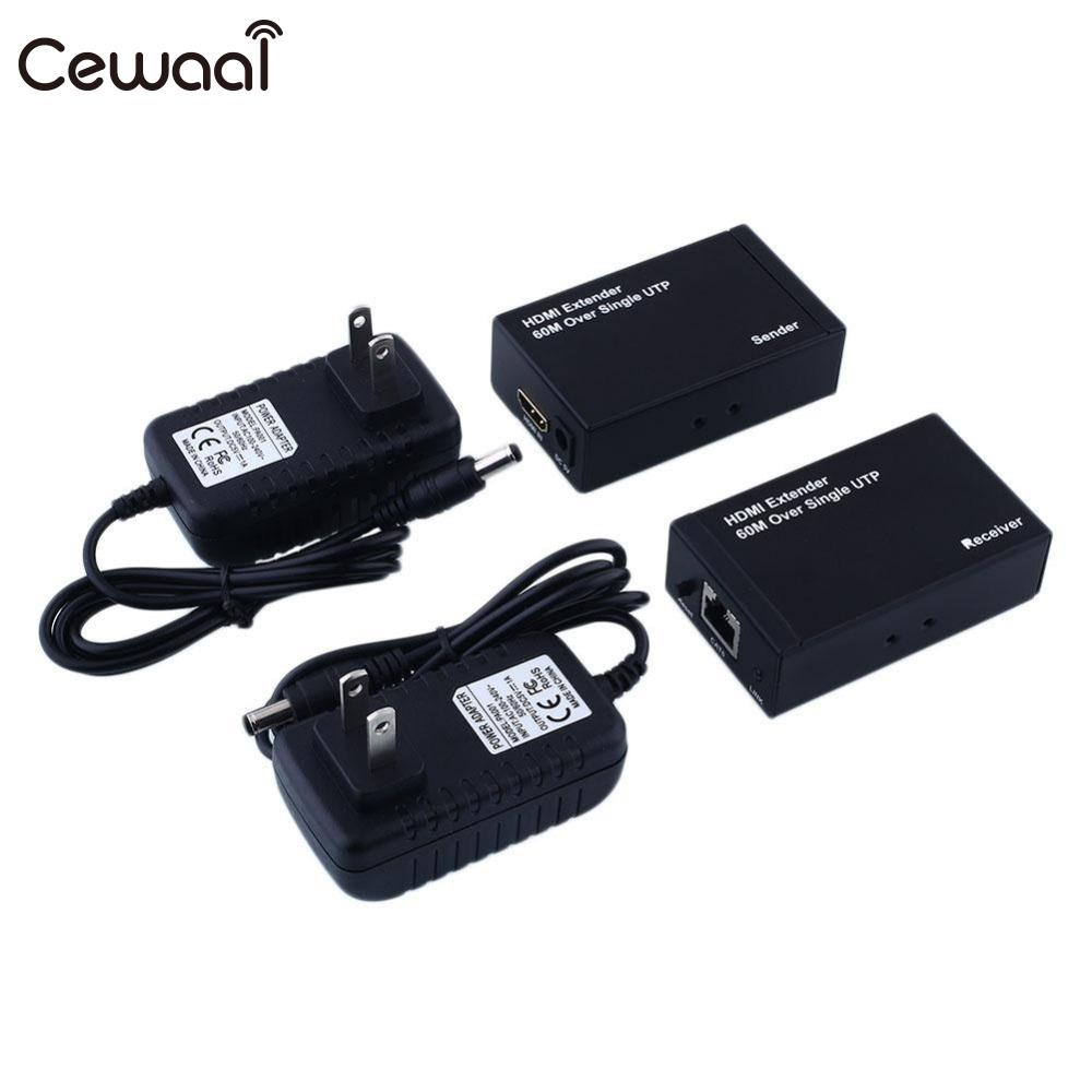 Cewaal HDMI LAN Extender 60M 196ft OVER Single UTP CAT 5E CAT6 RJ45 1080P 3D Video 2 Adapters 2017 New 80 channels hdmi to dvb t modulator hdmi extender over coaxial