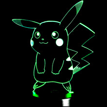 Pokemons Anime 3D USB Led night light 7 colors Visual illusion