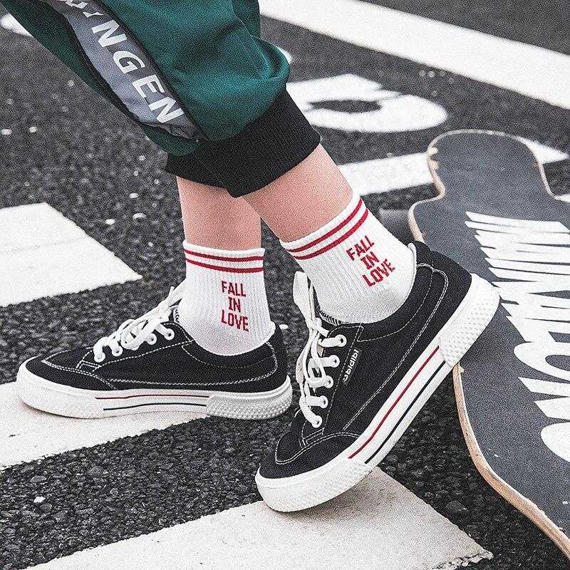 2018 New Arrival Women Socks Korea Lovely Letter Fall in Love High Quality Cotton Sock Cute Stripe Fashion Socks Meias 5 Colors