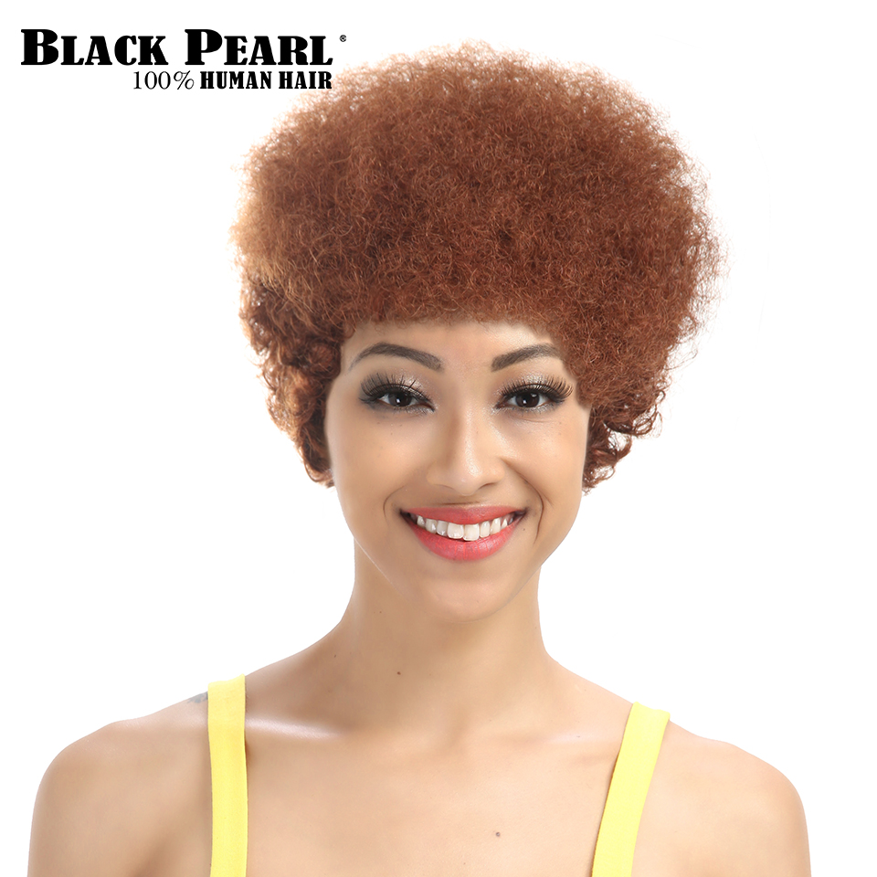 Black Pearl Short Curly Wigs For Black Women Ombre Black Brown Human Hair Wigs African A ...