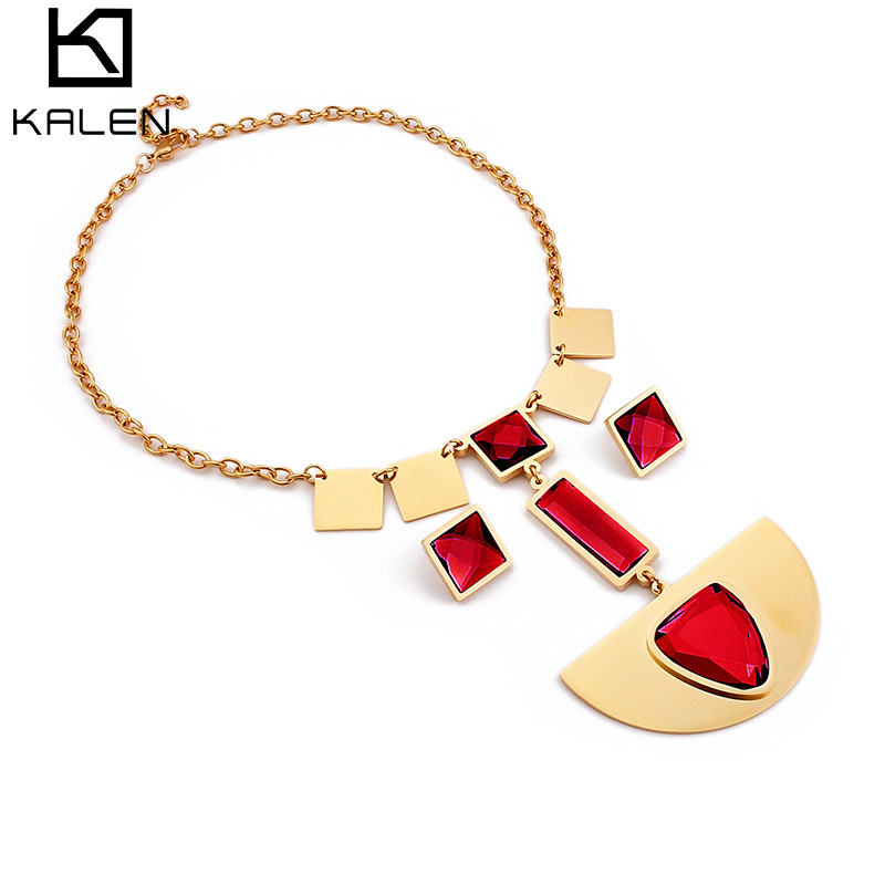 KALEN Stainless Steel Jewelry Sets For Women 4 Colors Glass Square Earrings & Chain Necklace Set Bijoux Jewelry Women Gifts