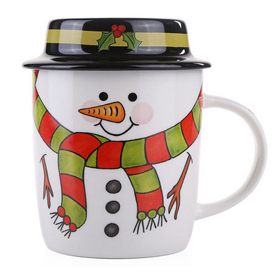 Amazing cartoon snowman ceramic christmas mug set creative Amazing christmas gifts for your best friend