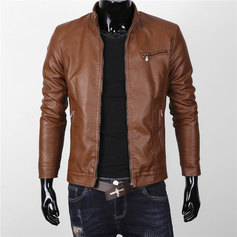 14c55ba91 US $51.11 23% OFF|New Fashion PU Leather Jacket Men Nice Solid Mens Casual  Faux Leather Motorcycle Jacket Slim Fit Suede Stand Collar Mens Coats-in ...