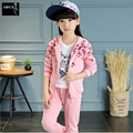 New Brand 2016 Baby Girls Sets Cotton Spring Autumn Fashion Foral Print Sports 2 Pieces Long Sleeve Hooded Suits Girls Clothes
