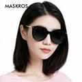 MASKROS 2016 поляризованных солнцезащитных очков женский прилив УФ поляризатор большой рамка модные солнцезащитные очки M1364 прозрачная рамка фиолетовый