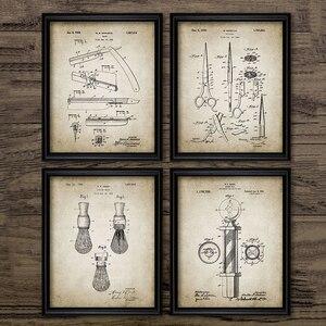 Парикмахерская патент Blueprints винтажные плакаты Печать на холсте, щетка для бритья, Ножницы Парикмахерская Полюс, резка горло Бритва Парикма...