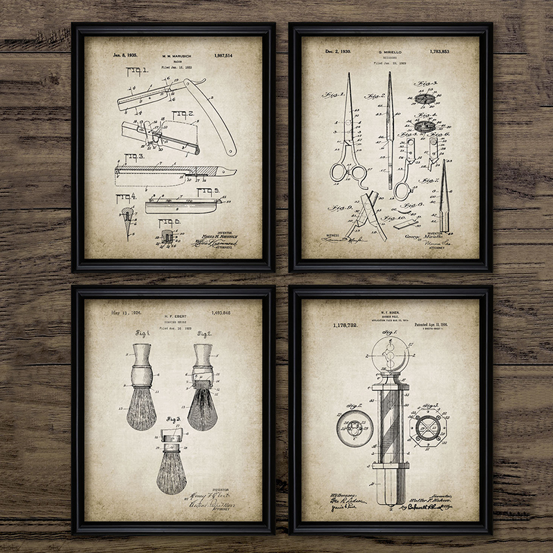 Barber Patent Blueprints Vintage Posters Canvas Prints ,Shaving Brush, Scissors Barber's Pole, Cutthroat Razor Barbershop Decor