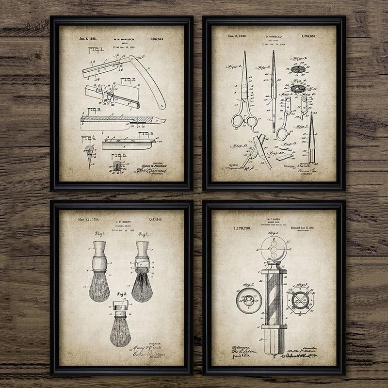 Barbero charol Blueprints Vintage carteles impresiones en lienzo, cepillo de afeitar, tijera poste de barbero, cuchilla de corte decoración de barbería