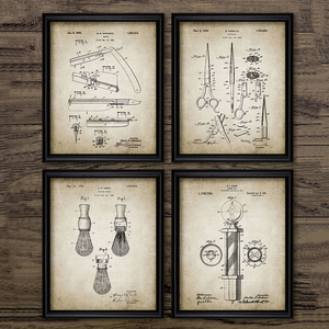 Barber Patent Blueprints Vintage Posters Canvas Prints ,Shaving Brush, Scissors Barber's Pole, Cutthroat Razor Barbershop Decor(China)
