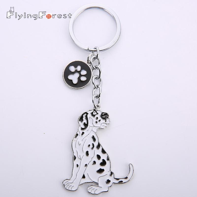 NEW PET dogs keychains dalmatians DIY key pendant car key ring gift for best friend jewelry woman&man Keychain tag key bag charm