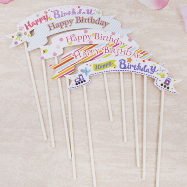 Happy Birthday Banner Flag cupcake cake topper cake flags baby