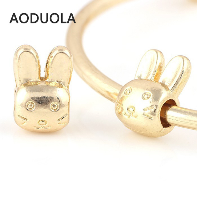 10 Pcs a Lot Gold-Color Big Hole Rabbit Alloy Spacer DIY Beads European  Spacer 24309b50567d