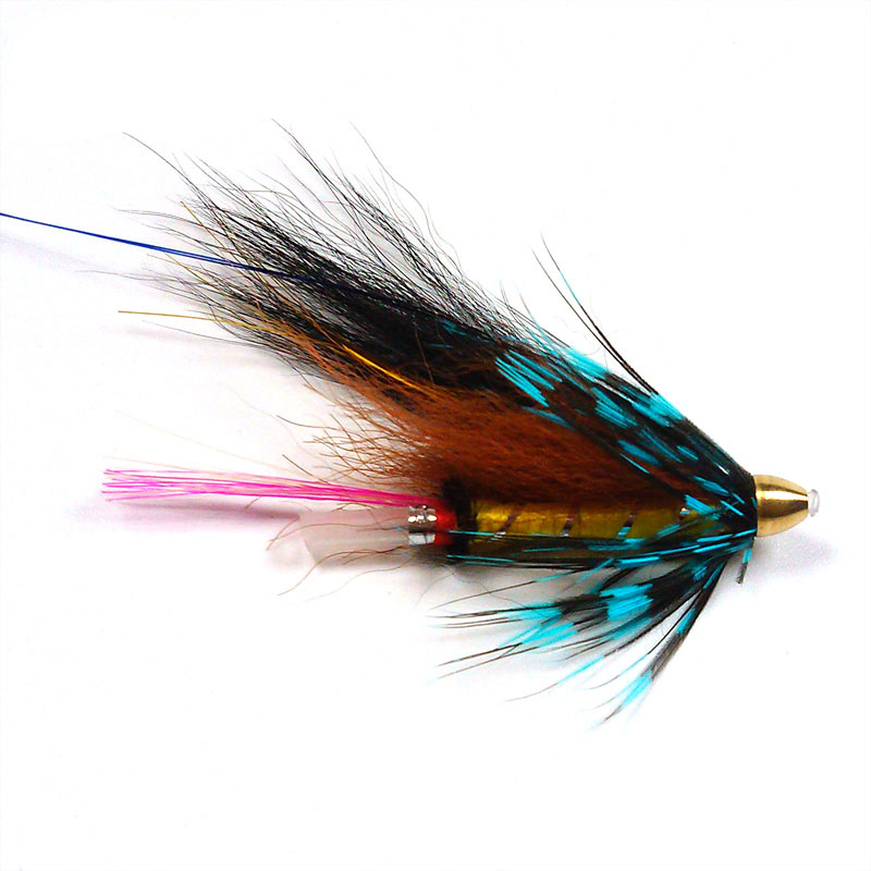 20PCS Conehead Tube Flies for Salmon Trout And Steelhead Fly Fishing Blue Grizzly Orange & Black Color
