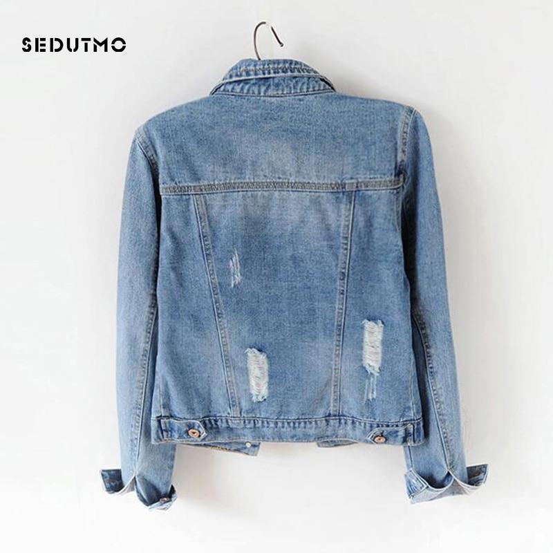 SEDUTMO 2018 Plus Size 5XL Denim Jacket Women Boyfriend Jean Coat Streetwear Harajuku Vintage Autumn Basic Outerwear ED198 1