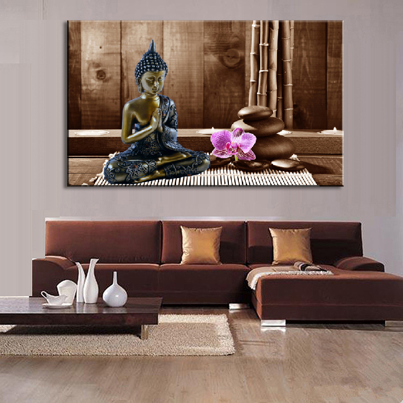 1 Pcs Buddha Wall Art Still Life Black Buddha With Stones and Flower ...