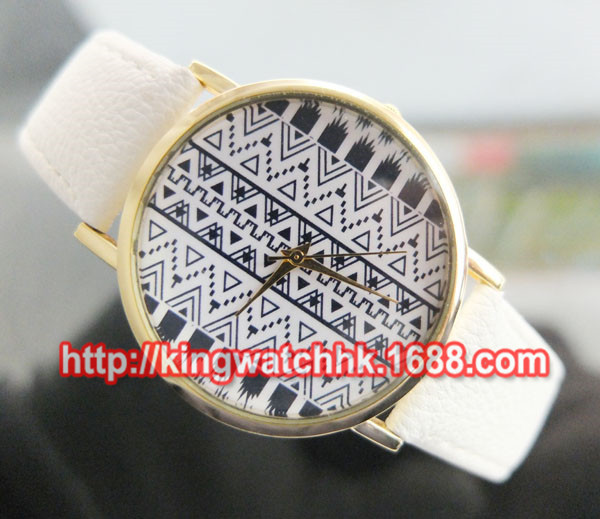 DHL free, 100ps/lot, Aztec Tribal Print Round Watch Face, Gold Plated, Ribbon Solid Bar Watch Face,Leather watches