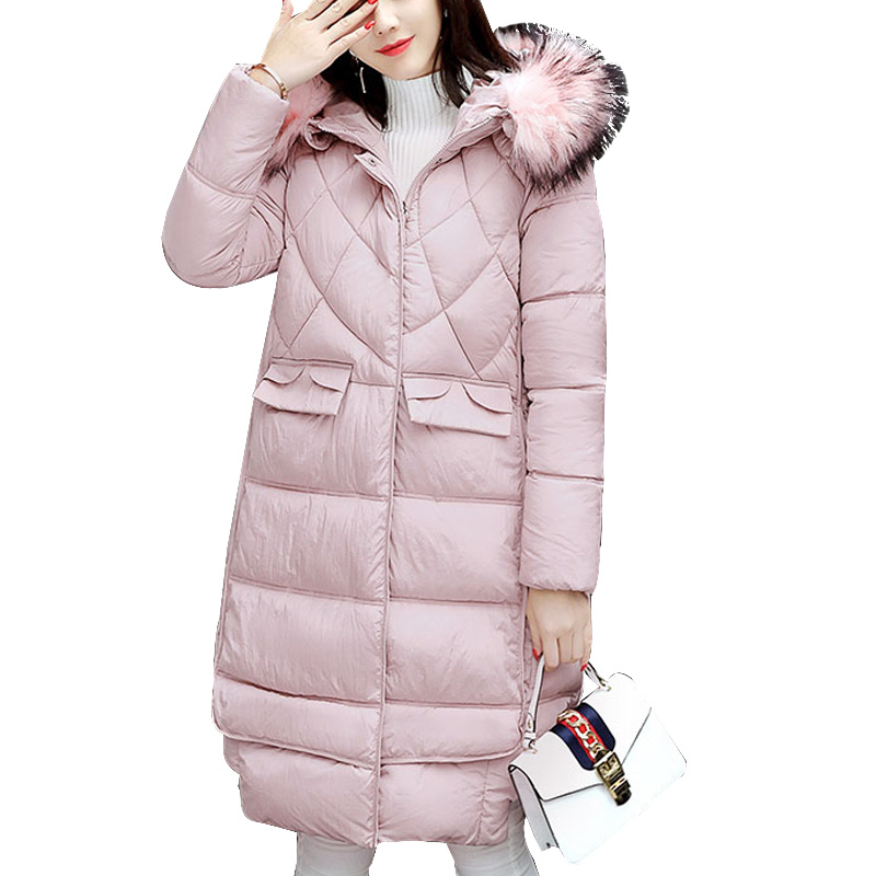 winter jacket women 2017 fashion Fur collar Hooded Thick Down Parka Padded cotton  Luxury winter coat  Plus size women clothing 2015 mens down padded coat fashion splice leather patchwork male down coat hooded winter jacket man fur collar plus size xxxxxl