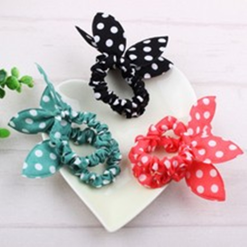 1PCSKorean version of the new rabbit ears hair ring bow head simple affordable hair accessories wholesale (color randomly)