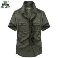 Free Shipping Hot Fashion 2016 Summer Casual Men Shirts Cotton Short Sleeve Military Style Mens Shirts