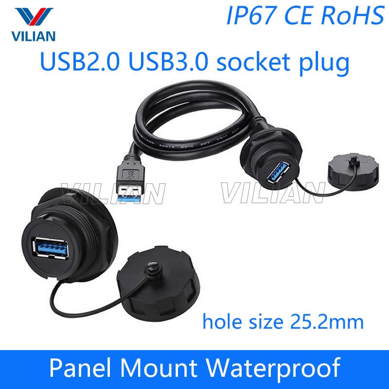 USB female socket plug Panel Mount adapter USB 2.0 3.0 Waterproof Connector IP67 extension cord connector With cap Free shipping reliable convenient usb 3 0 type a female to female plug adapter extension connector coupler