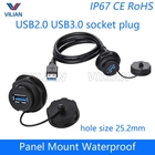 USB female socket plug Panel Mount adapter USB 2.0 3.0 Waterproof Connector IP67 extension cord connector With cap Free shipping
