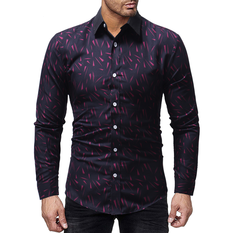 0c52ec7b TOLVXHP2018 new best selling men's shirt printing men's casual slim  long-sleeved shirt solid color printed long-sleeved shirt | Mikes Wholesale  Mart