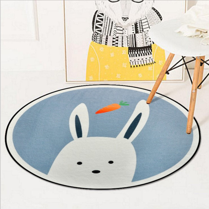 Round Cute Cartoon Animal Carpets for living room bedroom Kids Crawl Game Rug coffee table hanging basket computer chair Mat