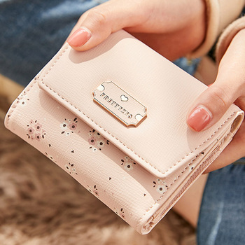 New Coin Purses Cards Holder  Woman Wallet Bags Lady Short Purse Girls Notecase Pocket Flower Wallets Fashion Three Fold Clutch