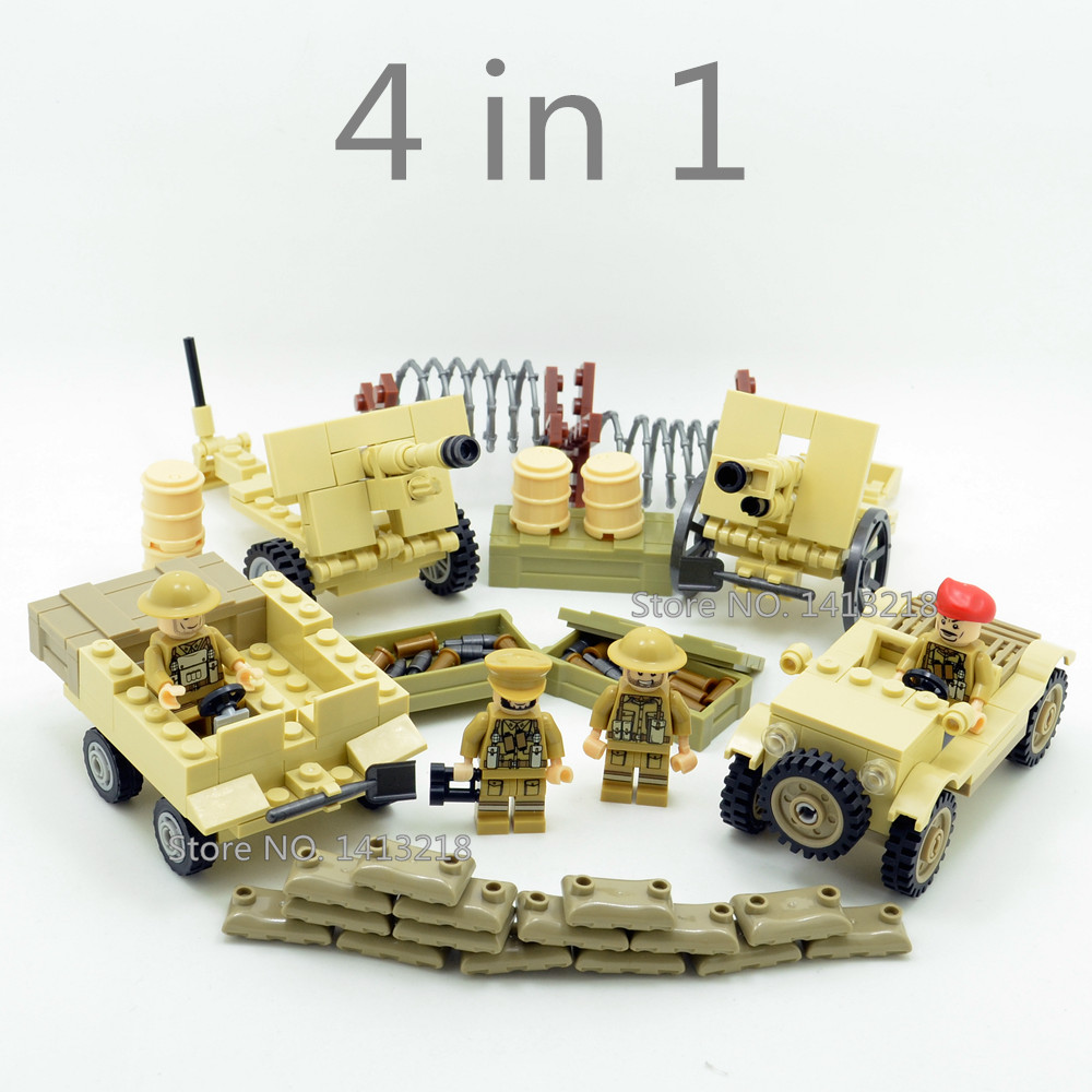 4 in 1 British Army Military SWAT World War Weapon Soldier Gun Marine Corps navy Building Blocks Figures Toys Boy Gifts Children [yamala]military firewire blocks soldier war weapon bricks building blocks sets classic airman toys for children diy heavy gun