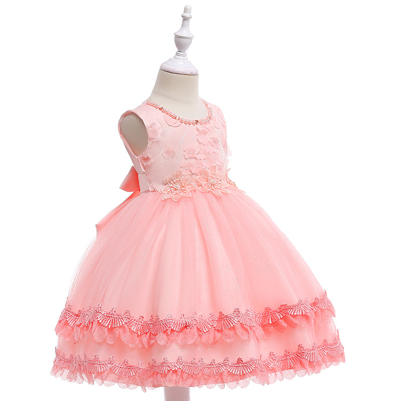 Flower Girl Dresses Real Photo Ball Gown O-Neck Tulle with Bow Girls Prom Pageant Gown First Communion Dress for Girls
