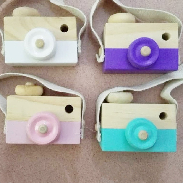 Cute Cartoon Wooden Camera Toys For Baby Kids Room Decor Furnishing Articles Child Gift Photo Props Nordic European Style