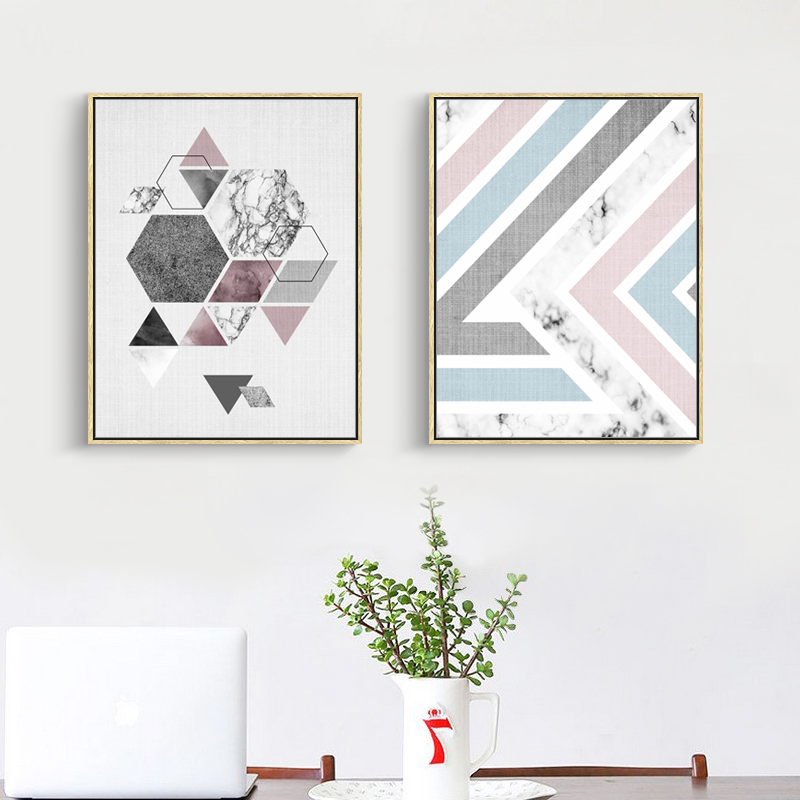 Geometry pattern canvas oil painting home decor irregular for Hotel wall decor
