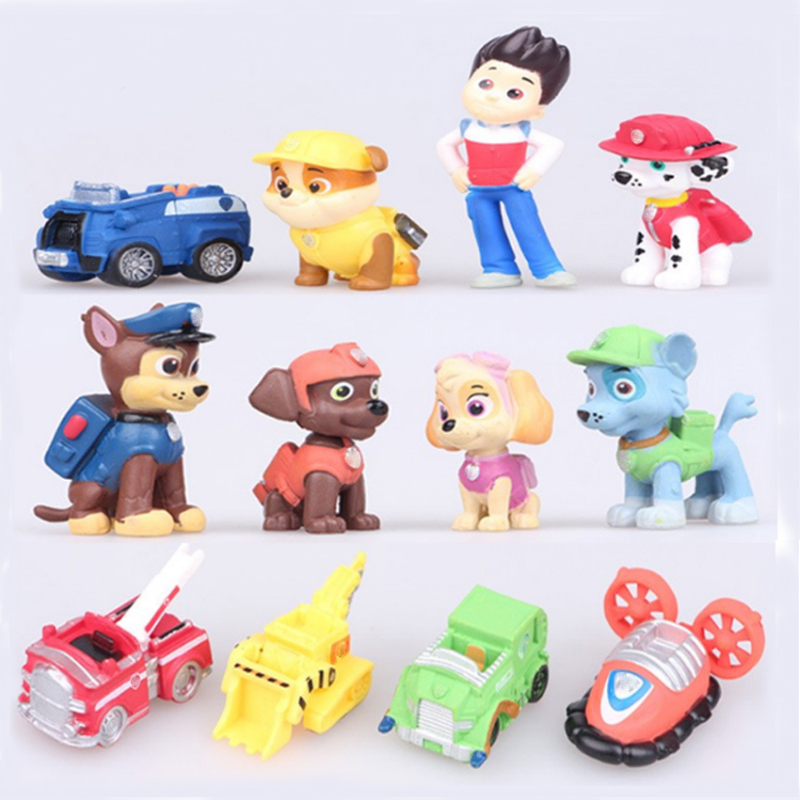 12pcs/set PAW Patrol Dog Canine Anime Doll Action Figures Car Puppy Toy Patrulla Canina Juguetes Gift for Child A8