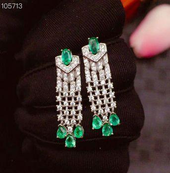 [MeiBaPJ] lujosos pendientes de gota de piedras preciosas de color esmeralda de Colombia Natural, pendientes de plata auténtica 925 a la moda, colgante delicado, joyería para mujeres
