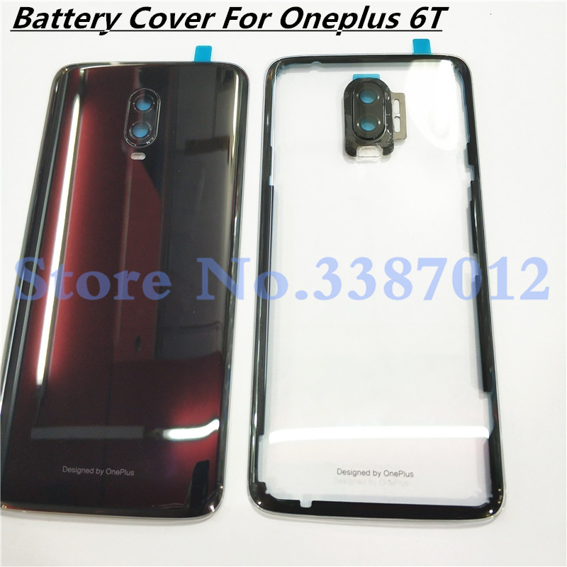 100% Original Material Glass Rear Housing Door For Oneplus6T Oneplus 6T Back Battery Cover Case+Camera Lens Replacement Parts
