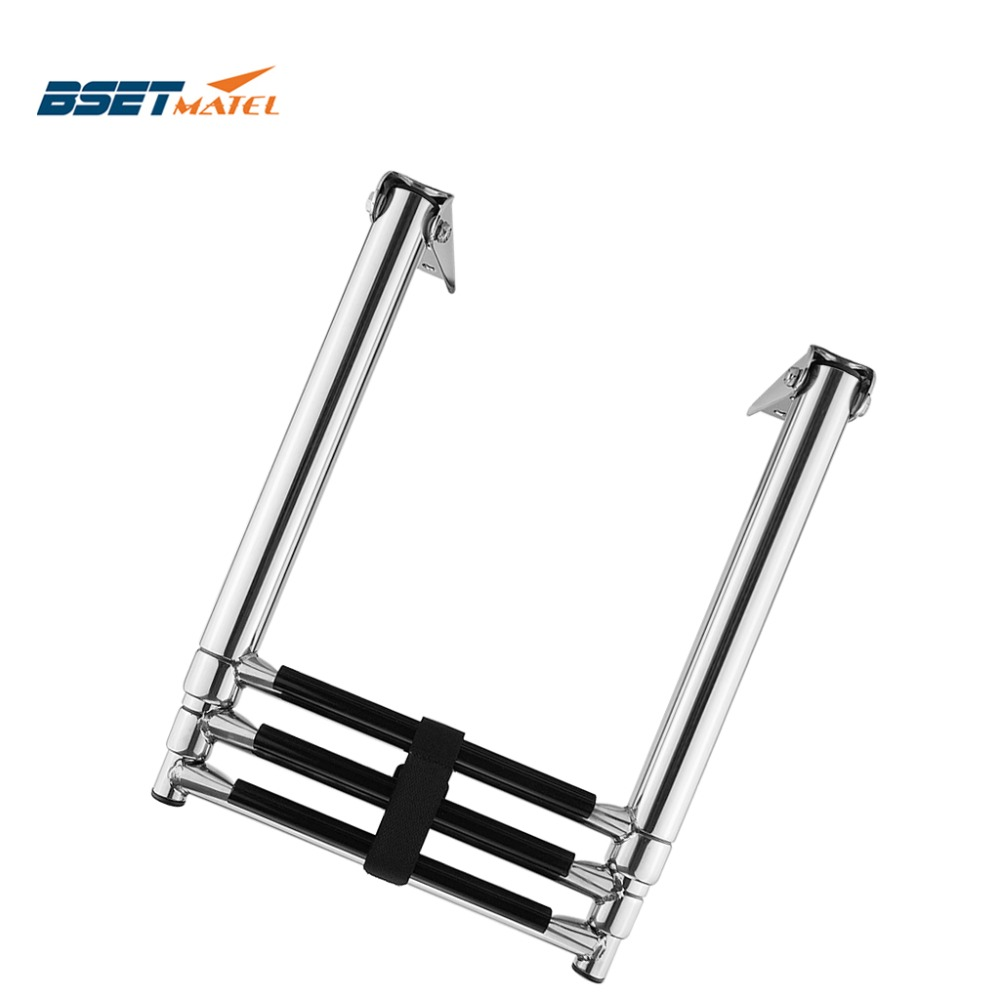 BSET MATEL 3 Steps Boat Stainless Steel 304 Telescoping Folding Ladder Deck Outboard Swim Platform Boat Marine Yacht Accessories
