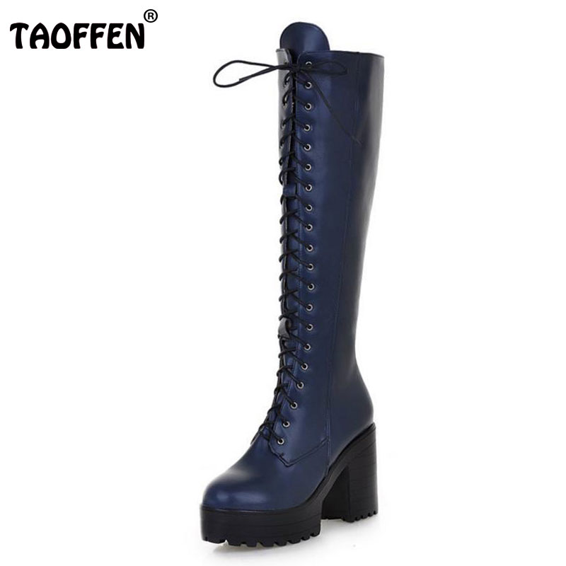 TAOFFEN Free shipping over knee high heel boots women snow fashion winter warm shoes boot P15636 EUR size 34-43 free shipping candy color women garden shoes breathable women beach shoes hsa21