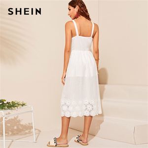 Image 2 - SHEIN White Embroidered Eyelet Hem Button Up Summer Boho Dress Women Straps Empire Dress Solid Fit and Flare Long Cami Dresses