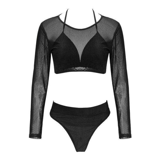 Mesh Long Sleeve High Waist Bikini Set 5