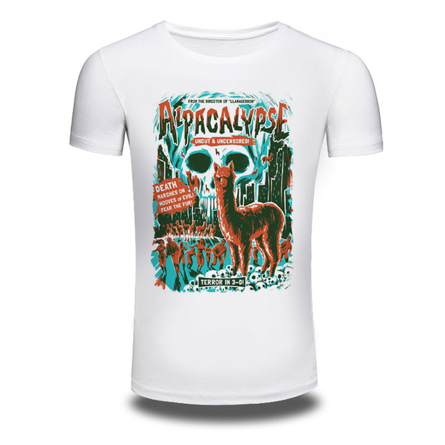 b371678f ... 2018 fashion men s alpaca t shirt funny design animal printed neck ...