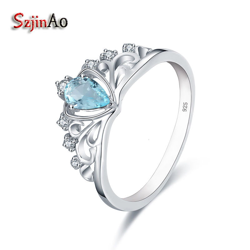 Szjinao Wholesale 925 Sterling Silver Crown Wedding Rings for Women 0.61CT Aquamarine Love Heart Ring Bridal White Gold Jewelry