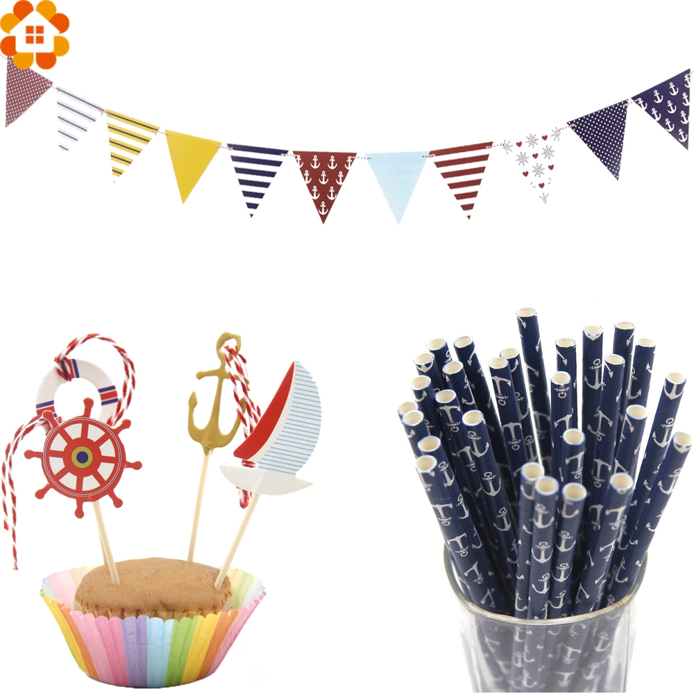 1set sailing anchor tour party decorations paper straws for Anchor decoration party