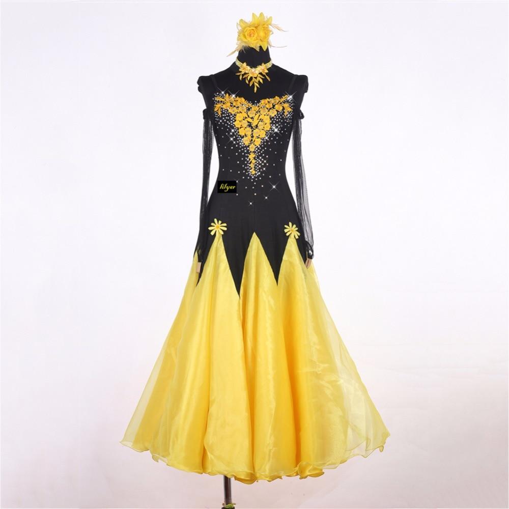 High Quality Modern Dancing Dresses For Ladies Black Yellow Skirts For Women Adult Tango Waltz Jazz Ballroom Dance Garments 0033