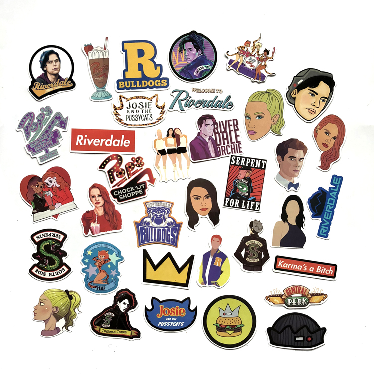 35pcs/set Riverdale Stickers For Laptop Skateboard Home Decoration Car Styling Vinyl Decals Doodle Cool DIY Works