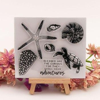 Sello de silicona transparente con forma de tortuga y estrella Marina 2019, sello de silicona transparente para álbum de sellos para álbum de fotos, láminas de sellos decorativos transparentes