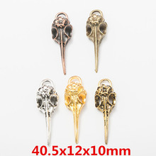 10pcs Antique Silver/Bronze/Gold/Copper Carved Flower Raven Crow Bird Skull Charms Pendants DIY Necklace Jewelry Findings