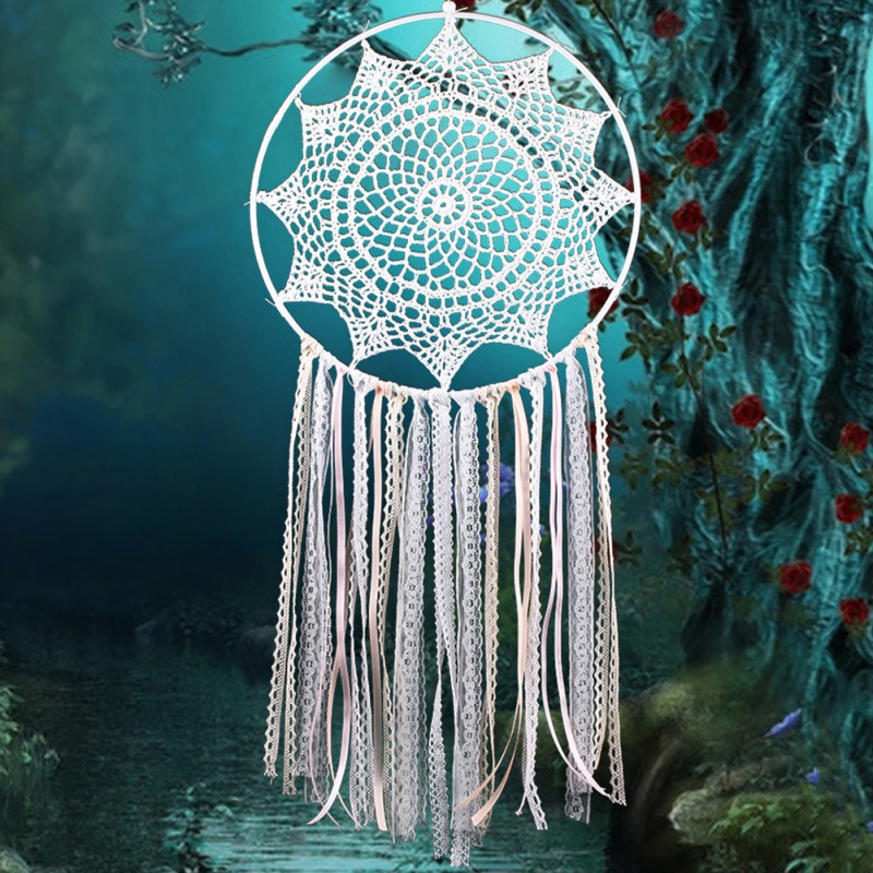 Lace Handmade Flower Tassel Big Dream Catcher Wall Hanging Craft Ornament Hanging Decorations Gifts Dreamcatcher