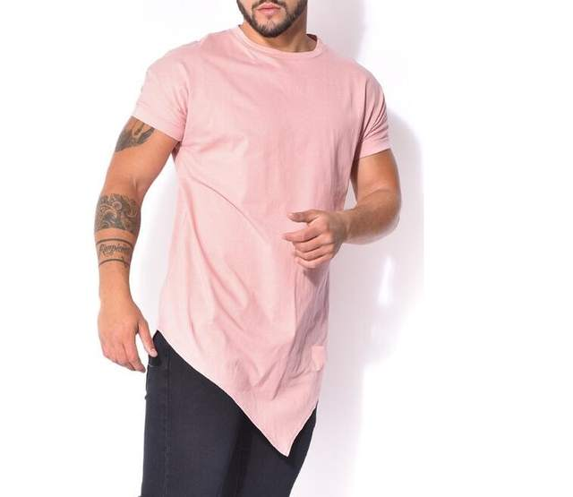 Online Shop Tyga Pink Tees Hiphop t-shirt Tops tees fashion oversized Short  sleeve Kanye west army extended tee jay z spilt t shirt Extra  2efe905d024